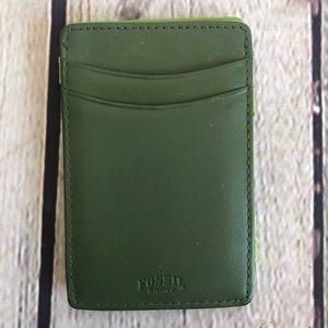 FOSSIL Green Flip Wallet/Card Holder